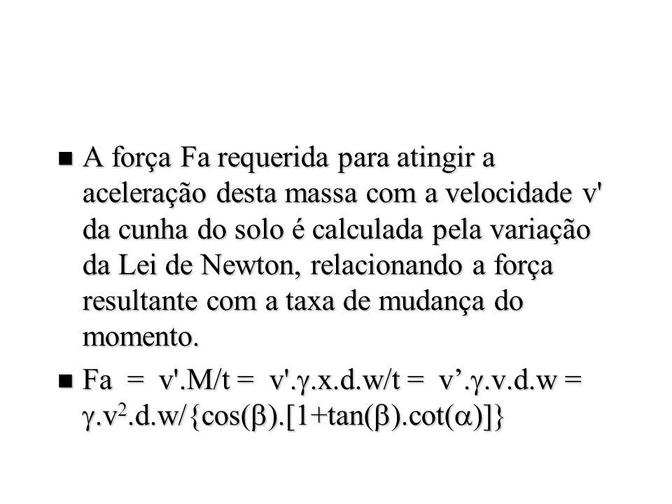 n Esta força de aceleração pode ser adicionada no balanço de forças, atuando na cunha de solo, fornecendo a seguinte expressão P = ( g.d 2.N + c.d.Nc + ca.d.Nca + q.d.Nq + P = ( g.d 2.N + c.d.Nc + ca.d.Nca + q.d.Nq + +.v 2.d.Na).w +.v 2.d.Na).w Na = {tan( )+cot( )}/{[cos( ) + sin( ).cot( )].[1+tan( ).cot( )]} Na = {tan( )+cot( )}/{[cos( ) + sin( ).cot( )].[1+tan( ).cot( )]}