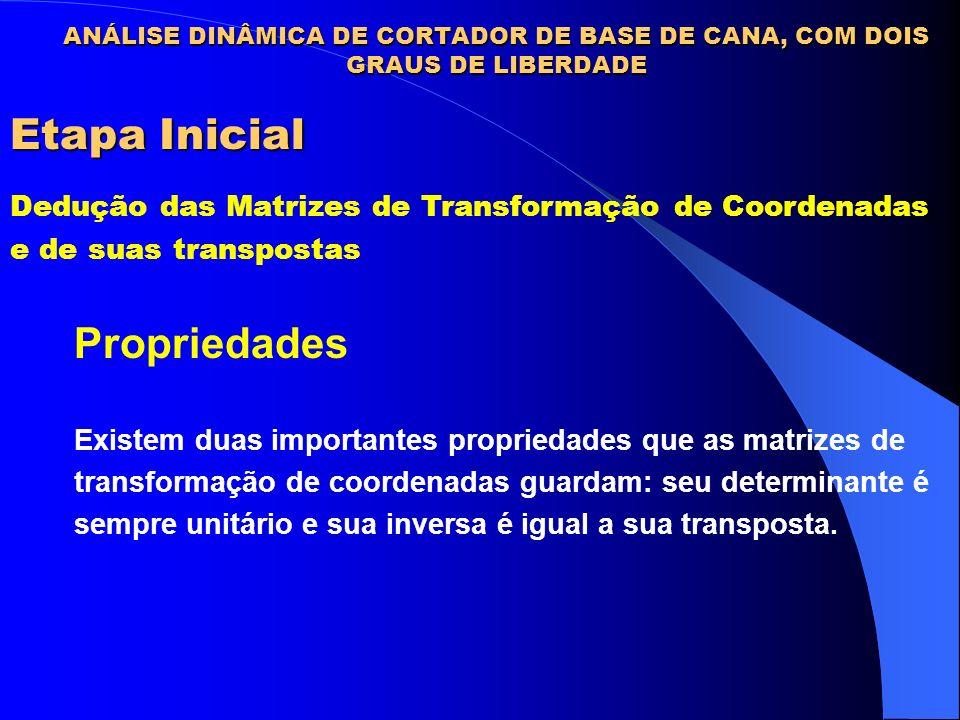 Etapa Inicial Dedução das Matrizes de Transformação de Coordenadas e de suas transpostas Propriedades Existem duas importantes propriedades que as mat