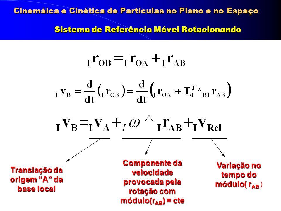 Cinemáica e Cinética de Partículas no Plano e no Espaço Sistema de Referência Móvel Rotacionando Translação da origem A da base local Componente da ve