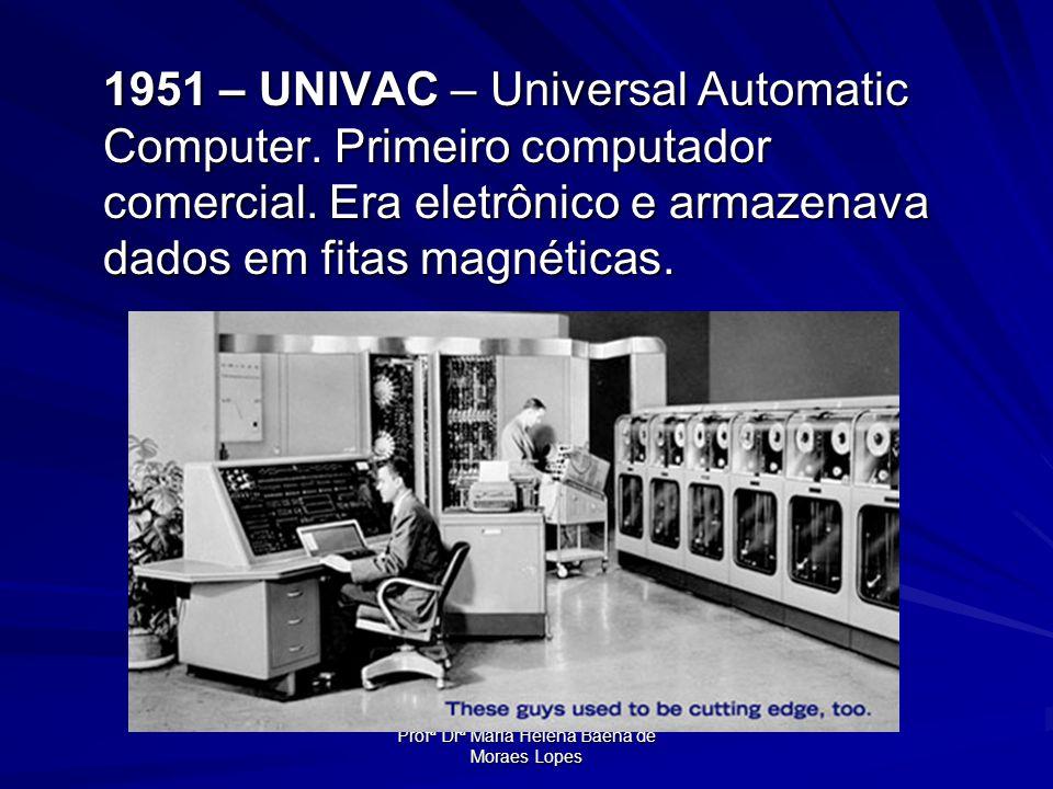 Profª Drª Maria Helena Baena de Moraes Lopes 1951 – UNIVAC – Universal Automatic Computer. Primeiro computador comercial. Era eletrônico e armazenava