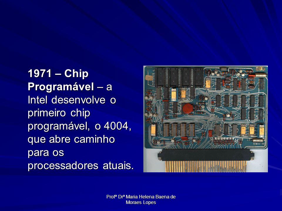 Profª Drª Maria Helena Baena de Moraes Lopes 1971 – Chip Programável – a Intel desenvolve o primeiro chip programável, o 4004, que abre caminho para o