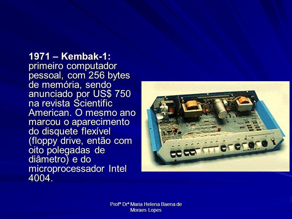 Profª Drª Maria Helena Baena de Moraes Lopes 1971 – Kembak-1: primeiro computador pessoal, com 256 bytes de memória, sendo anunciado por US$ 750 na re