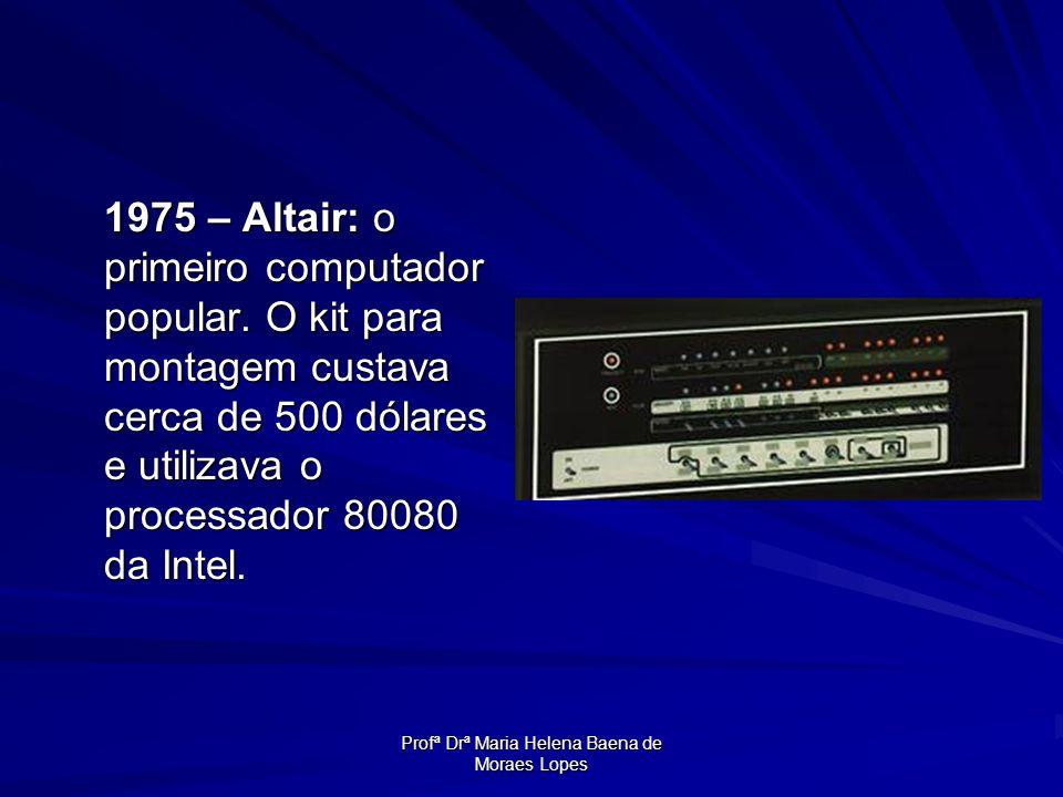 Profª Drª Maria Helena Baena de Moraes Lopes 1975 – Altair: o primeiro computador popular. O kit para montagem custava cerca de 500 dólares e utilizav