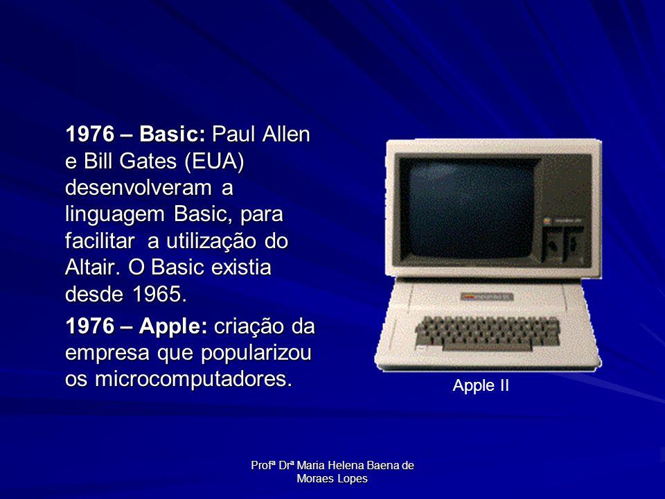 Profª Drª Maria Helena Baena de Moraes Lopes 1976 – Basic: Paul Allen e Bill Gates (EUA) desenvolveram a linguagem Basic, para facilitar a utilização