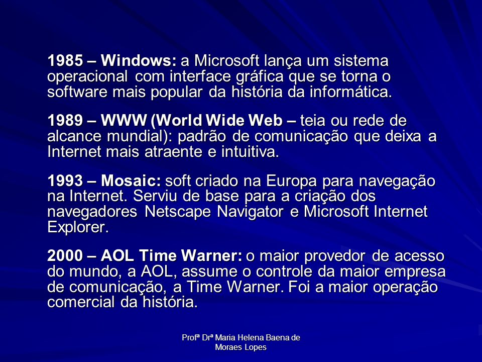 Profª Drª Maria Helena Baena de Moraes Lopes 1985 – Windows: a Microsoft lança um sistema operacional com interface gráfica que se torna o software ma