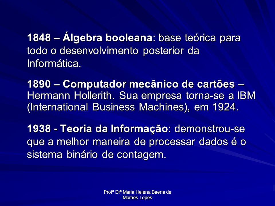 Profª Drª Maria Helena Baena de Moraes Lopes 1848 – Álgebra booleana: base teórica para todo o desenvolvimento posterior da Informática. 1890 – Comput