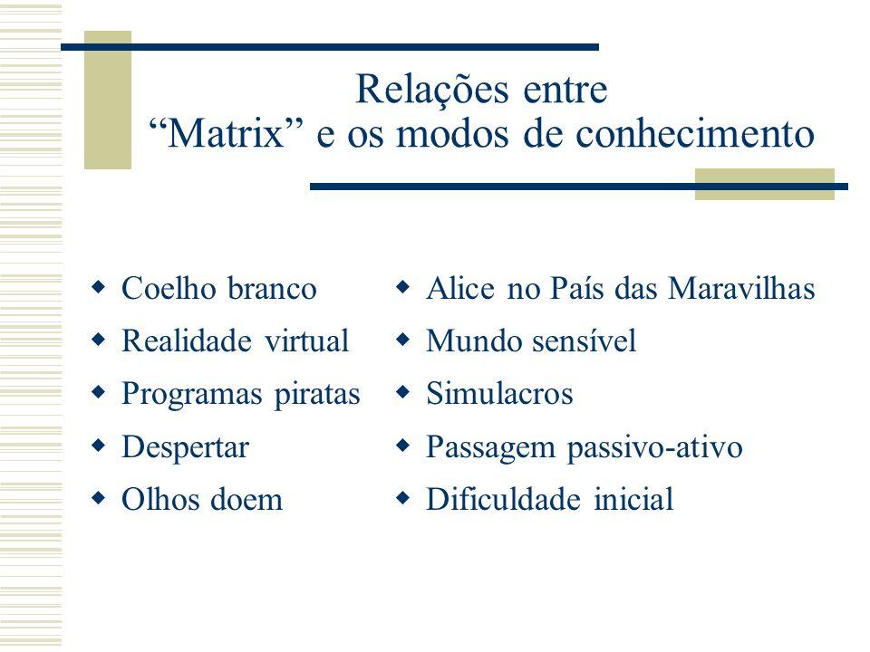 Relações entre Matrix e os modos de conhecimento Coelho branco Realidade virtual Programas piratas Despertar Olhos doem Alice no País das Maravilhas M