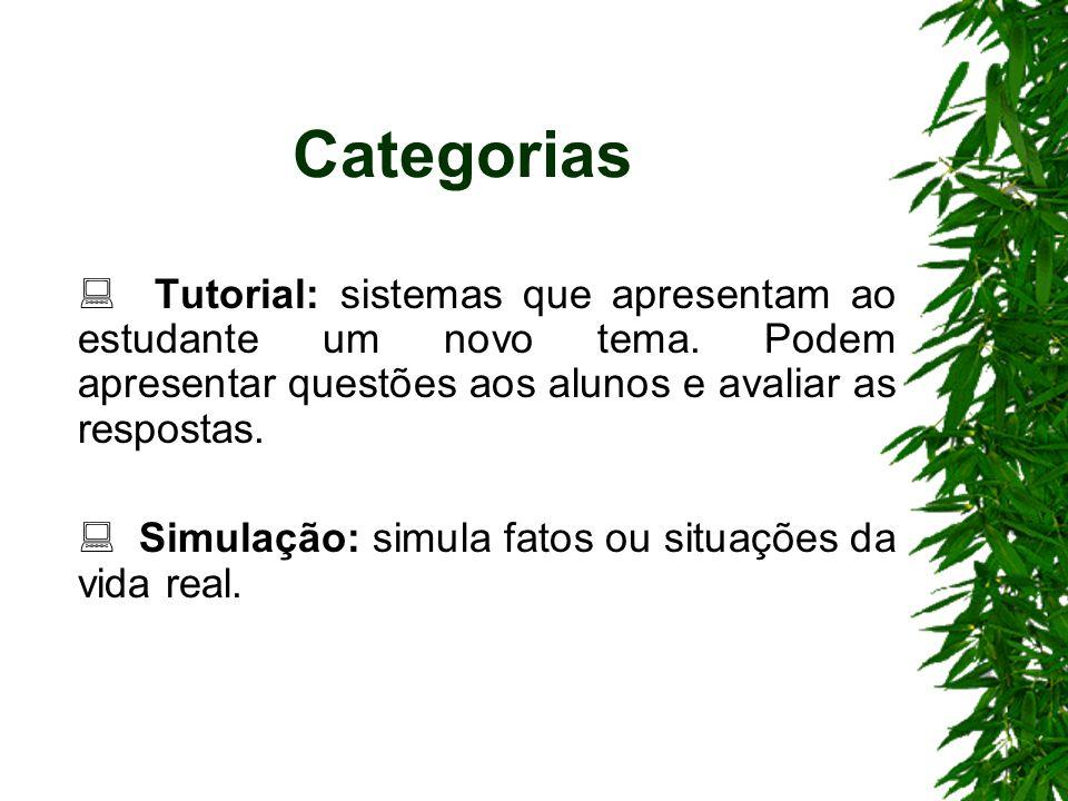 Categorias Tutorial: sistemas que apresentam ao estudante um novo tema. Podem apresentar questões aos alunos e avaliar as respostas. Simulação: simula
