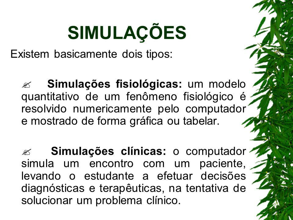 SIMULAÇÕES Existem basicamente dois tipos: Simulações fisiológicas: um modelo quantitativo de um fenômeno fisiológico é resolvido numericamente pelo computador e mostrado de forma gráfica ou tabelar.