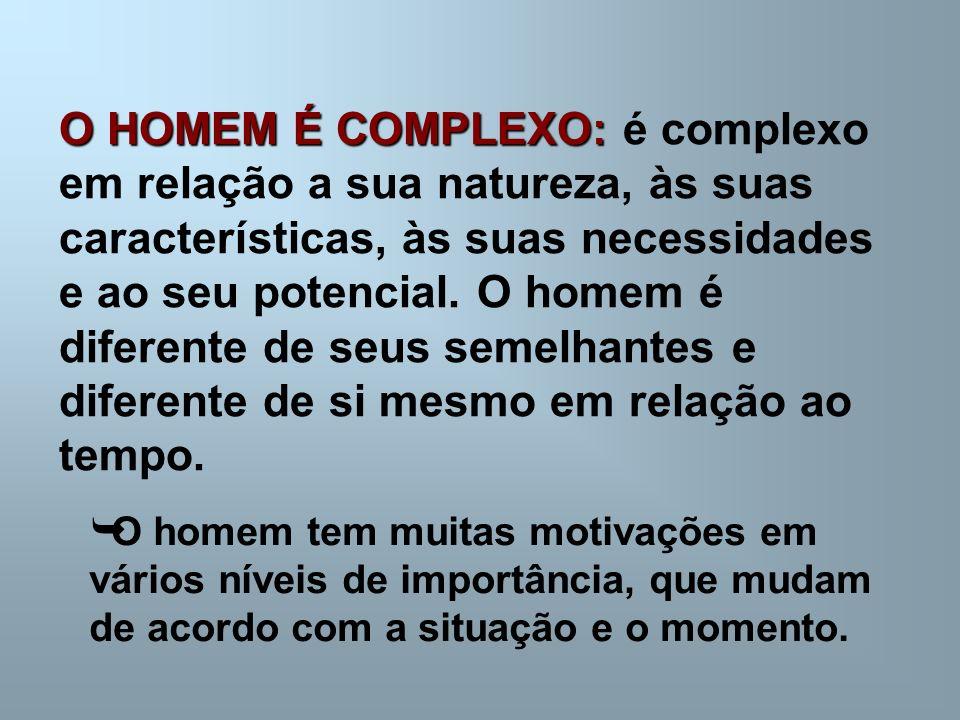 O HOMEM É COMPLEXO: O HOMEM É COMPLEXO: é complexo em relação a sua natureza, às suas características, às suas necessidades e ao seu potencial.