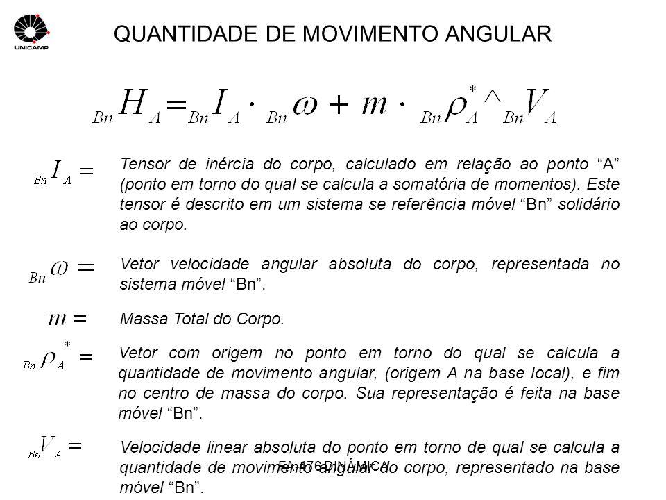 QUANTIDADE DE MOVIMENTO ANGULAR Tensor de inércia do corpo, calculado em relação ao ponto A (ponto em torno do qual se calcula a somatória de momentos
