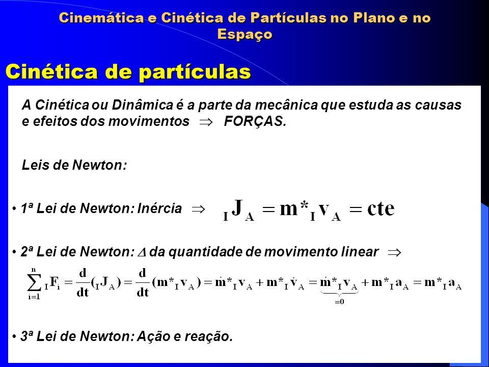 Cinemática e Cinética de Partículas no Plano e no Espaço Cinética de partículas A Cinética ou Dinâmica é a parte da mecânica que estuda as causas e ef