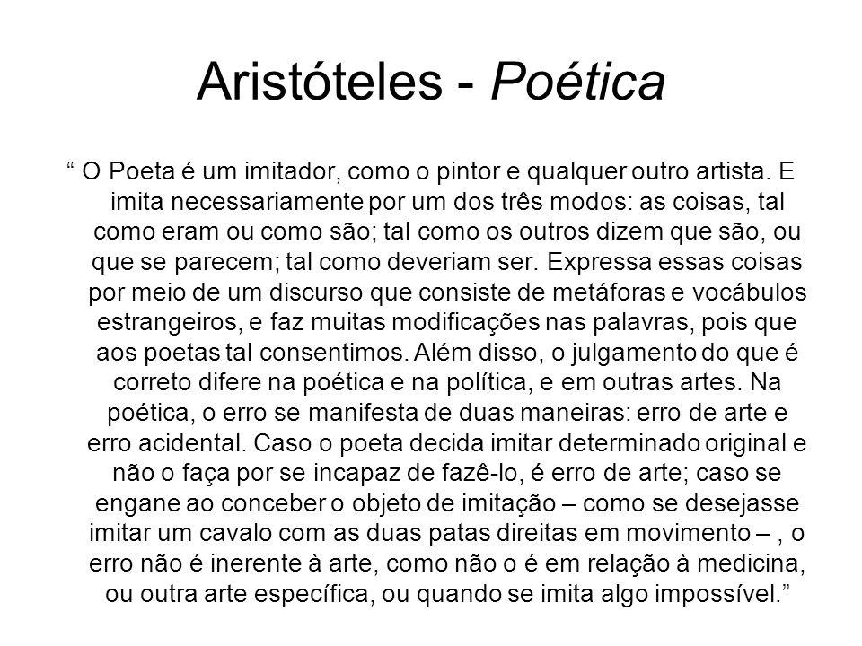 Aristóteles - Poética O Poeta é um imitador, como o pintor e qualquer outro artista. E imita necessariamente por um dos três modos: as coisas, tal com