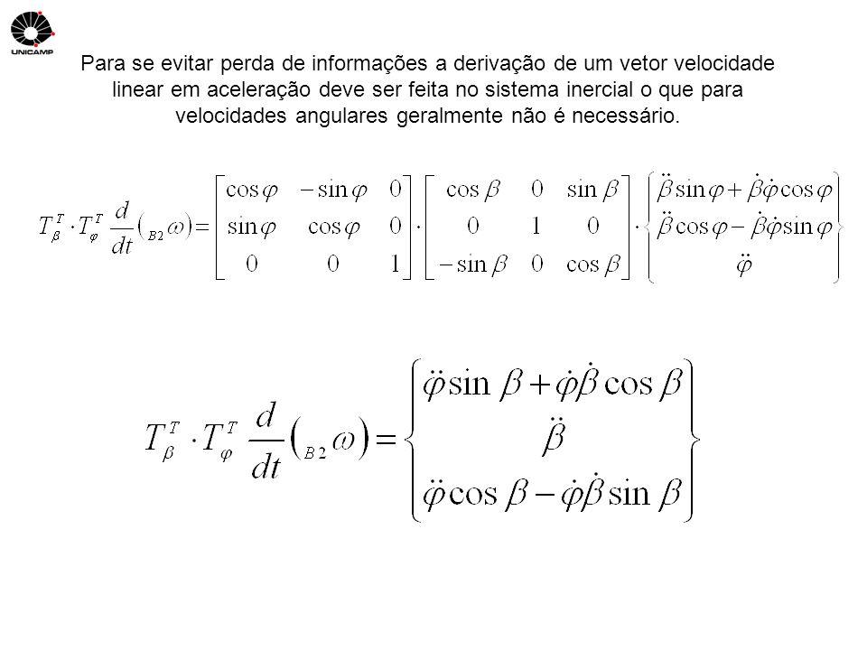 Para se evitar perda de informações a derivação de um vetor velocidade linear em aceleração deve ser feita no sistema inercial o que para velocidades
