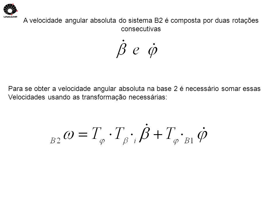 A velocidade angular absoluta do sistema B2 é composta por duas rotações consecutivas Para se obter a velocidade angular absoluta na base 2 é necessár