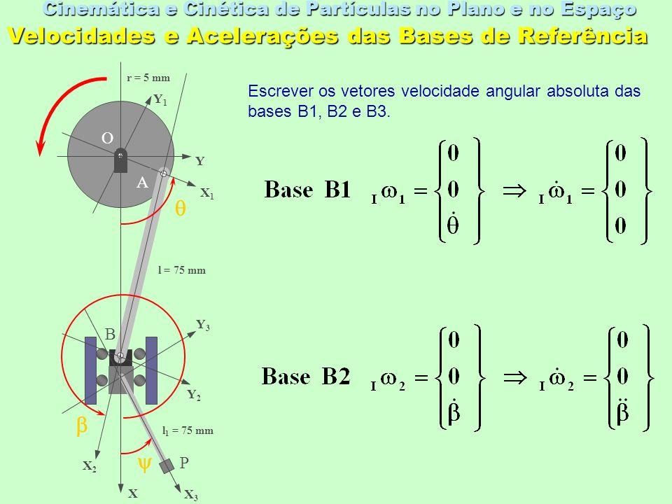 Cinemática e Cinética de Partículas no Plano e no Espaço O X Y X1X1 Y1Y1 X2X2 Y2Y2 X3X3 Y3Y3 A B P l = 75 mm l 1 = 75 mm r = 5 mm Velocidades e Acelerações das Bases de Referência Escrever os vetores velocidade angular absoluta das bases B1, B2 e B3.