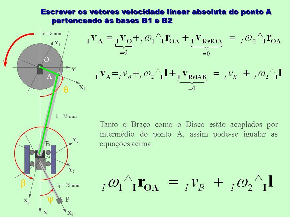 O X Y X1X1 Y1Y1 X2X2 Y2Y2 X3X3 Y3Y3 A B P l = 75 mm l 1 = 75 mm r = 5 mm Escrever os vetores velocidade linear absoluta do ponto A pertencendo às bases B1 e B2 Tanto o Braço como o Disco estão acoplados por intermédio do ponto A, assim pode-se igualar as equações acima.