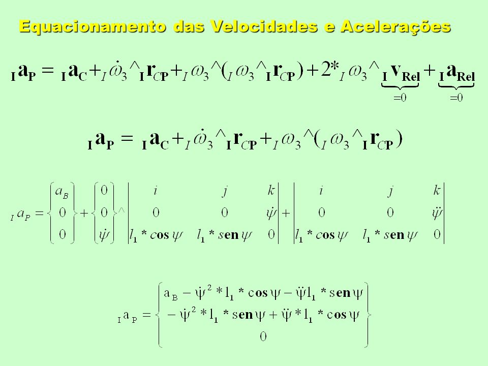 Equacionamento das Velocidades e Acelerações