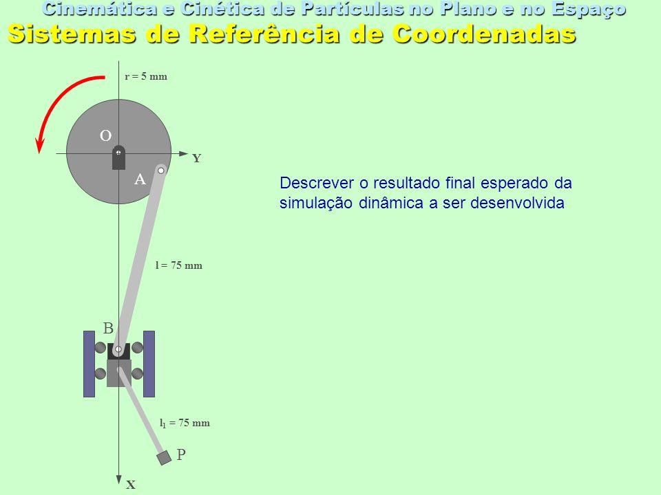Equacionamento das Velocidades e Acelerações a B apresenta componente somente em X, devido à sua restrição