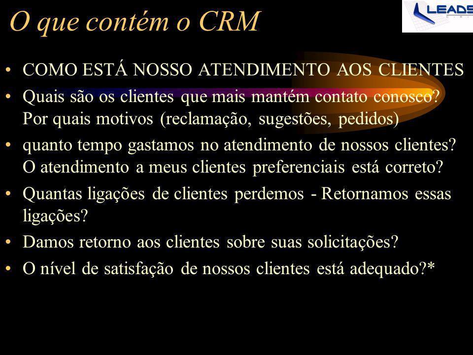 O que contém o CRM COMO ESTÁ NOSSO ATENDIMENTO AOS CLIENTES Quais são os clientes que mais mantém contato conosco? Por quais motivos (reclamação, suge