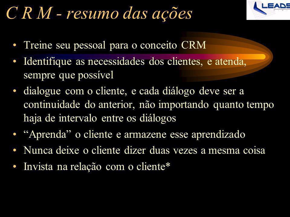 C R M - resumo das ações Treine seu pessoal para o conceito CRM Identifique as necessidades dos clientes, e atenda, sempre que possível dialogue com o