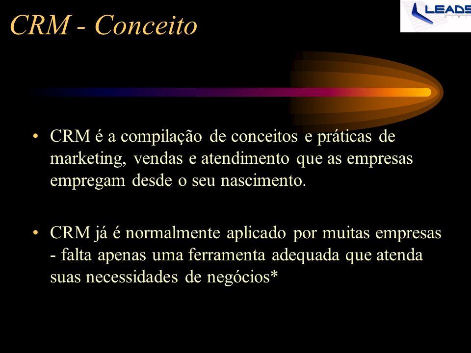CRM - Conceito CRM é a compilação de conceitos e práticas de marketing, vendas e atendimento que as empresas empregam desde o seu nascimento. CRM já é