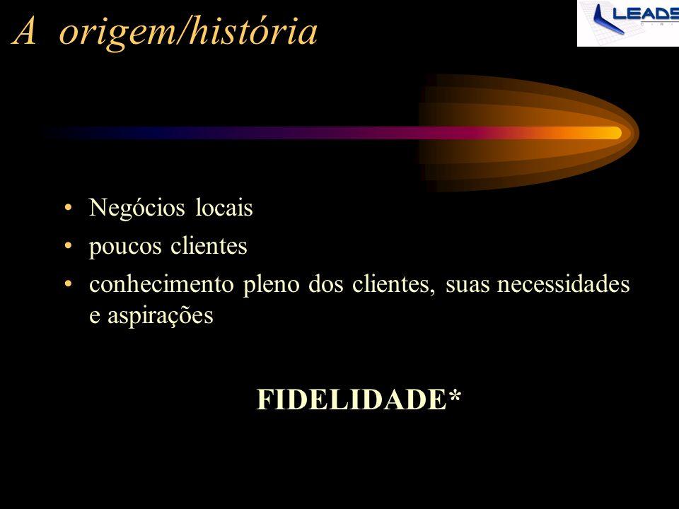 A origem/história Negócios locais poucos clientes conhecimento pleno dos clientes, suas necessidades e aspirações FIDELIDADE*