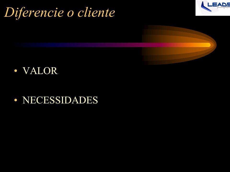 Diferencie o cliente VALOR NECESSIDADES