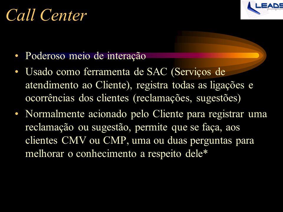 Call Center Poderoso meio de interação Usado como ferramenta de SAC (Serviços de atendimento ao Cliente), registra todas as ligações e ocorrências dos