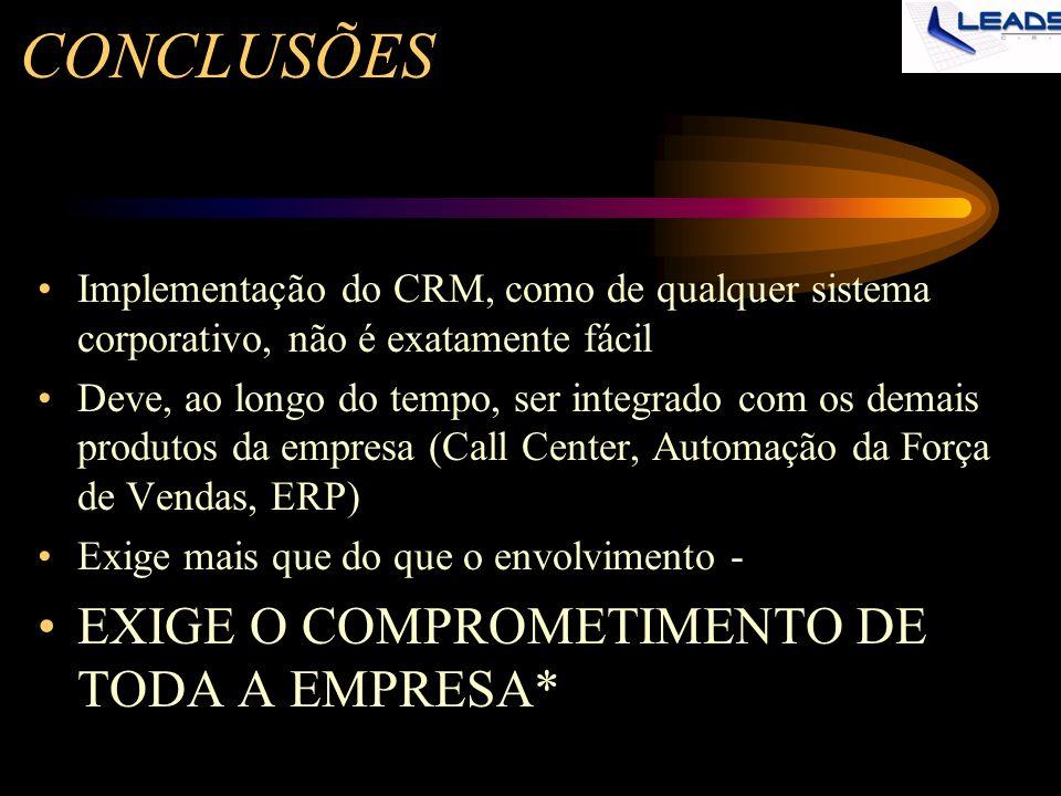CONCLUSÕES Implementação do CRM, como de qualquer sistema corporativo, não é exatamente fácil Deve, ao longo do tempo, ser integrado com os demais pro