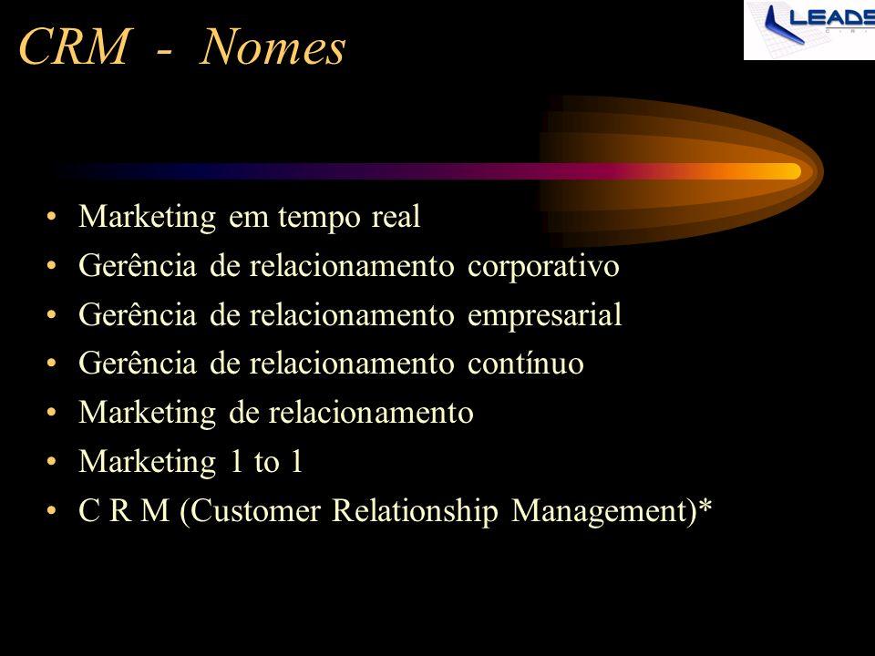 CRM - Nomes Marketing em tempo real Gerência de relacionamento corporativo Gerência de relacionamento empresarial Gerência de relacionamento contínuo