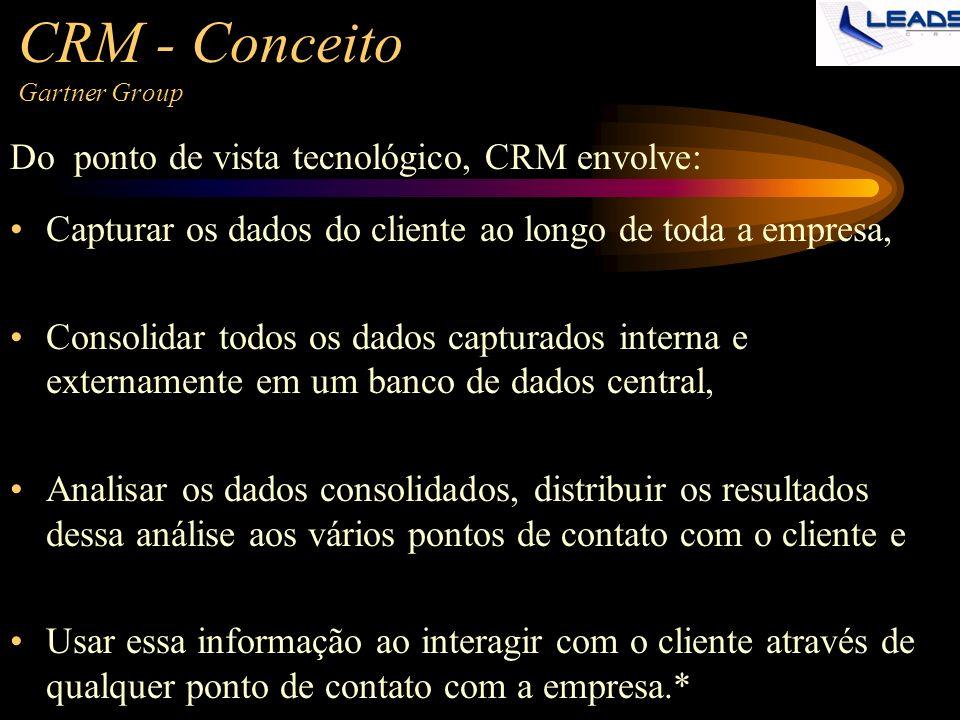 CRM - Conceito Gartner Group Capturar os dados do cliente ao longo de toda a empresa, Consolidar todos os dados capturados interna e externamente em u