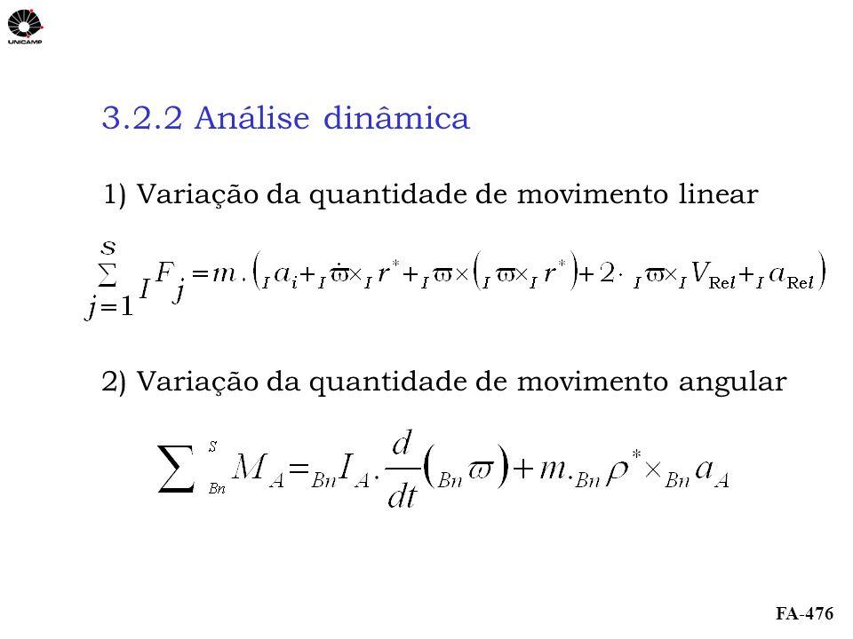 FA-476 3.2.2 Análise dinâmica 1) Variação da quantidade de movimento linear 2) Variação da quantidade de movimento angular