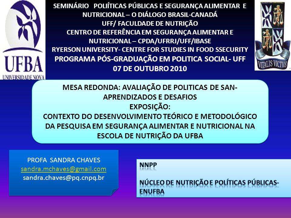 SEMINÁRIO POLIÍTICAS PÚBLICAS E SEGURANÇA ALIMENTAR E NUTRICIONAL – O DIÁLOGO BRASIL-CANADÁ UFF/ FACULDADE DE NUTRIÇÃO CENTRO DE REFERÊNCIA EM SEGURAN