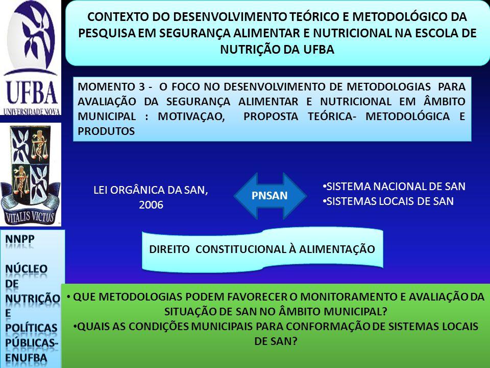 CONTEXTO DO DESENVOLVIMENTO TEÓRICO E METODOLÓGICO DA PESQUISA EM SEGURANÇA ALIMENTAR E NUTRICIONAL NA ESCOLA DE NUTRIÇÃO DA UFBA MOMENTO 3 - O FOCO N