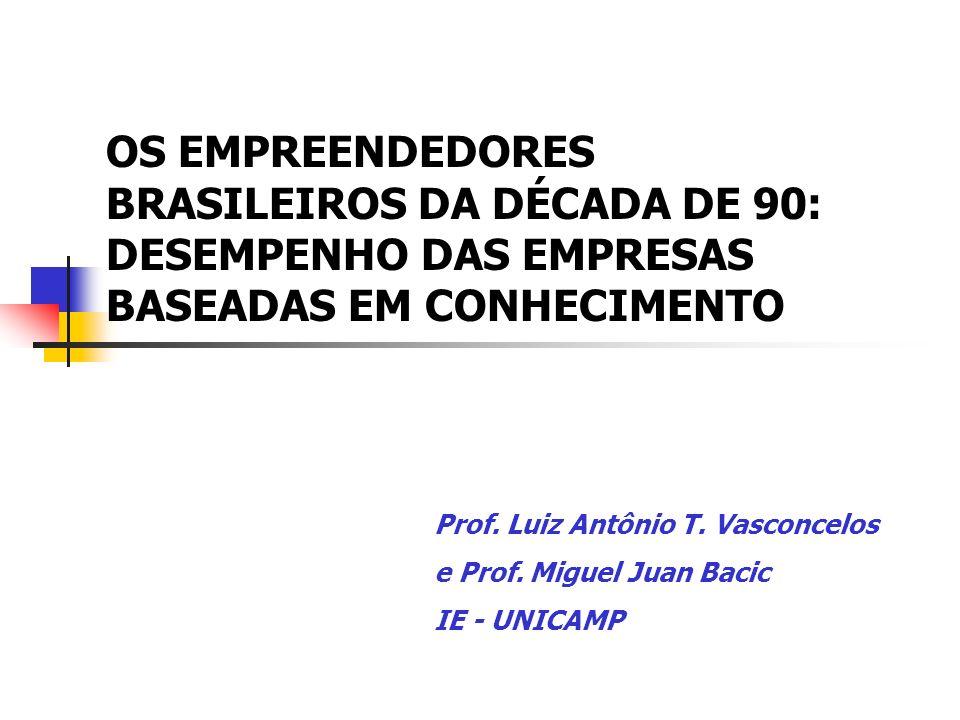 OS EMPREENDEDORES BRASILEIROS DA DÉCADA DE 90: DESEMPENHO DAS EMPRESAS BASEADAS EM CONHECIMENTO Prof. Luiz Antônio T. Vasconcelos e Prof. Miguel Juan