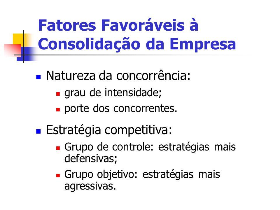 Fatores Favoráveis à Consolidação da Empresa Natureza da concorrência: grau de intensidade; porte dos concorrentes. Estratégia competitiva: Grupo de c