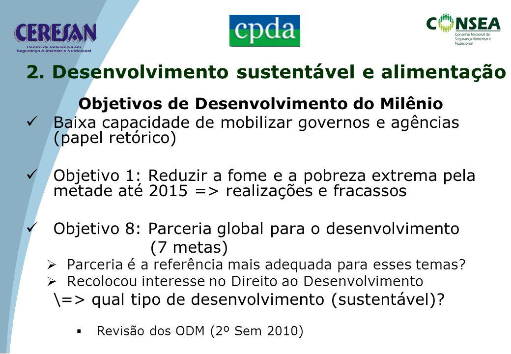 Objetivos de Desenvolvimento do Milênio Baixa capacidade de mobilizar governos e agências (papel retórico) Objetivo 1: Reduzir a fome e a pobreza extr