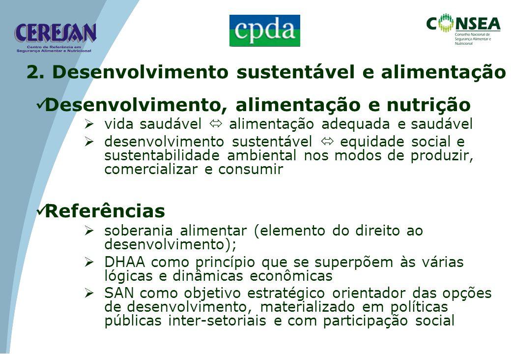 Desenvolvimento, alimentação e nutrição vida saudável alimentação adequada e saudável desenvolvimento sustentável equidade social e sustentabilidade a