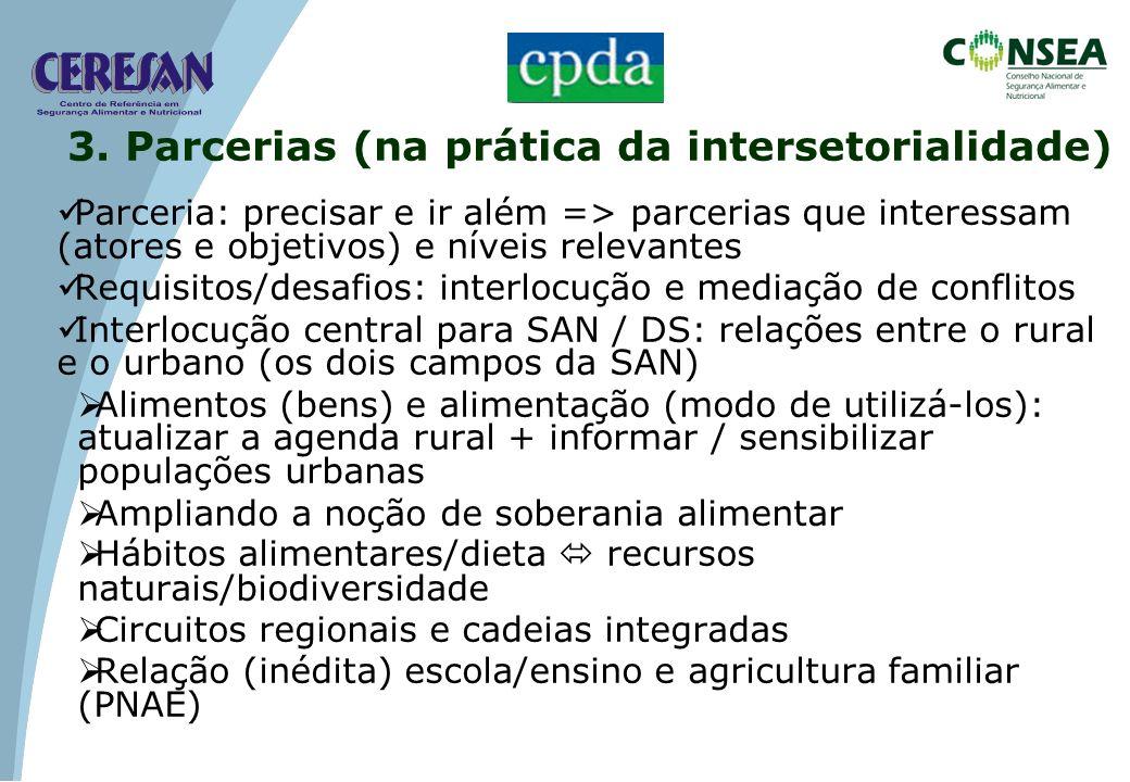Políticas públicas: Construção de um referencial intersetorial (SSAN e DHAA) Quem demanda parcerias Consea como um espaço de parcerias Desafios das políticas públicas com participação social Empresas: ausência de (boa) tradição no Brasil 3.