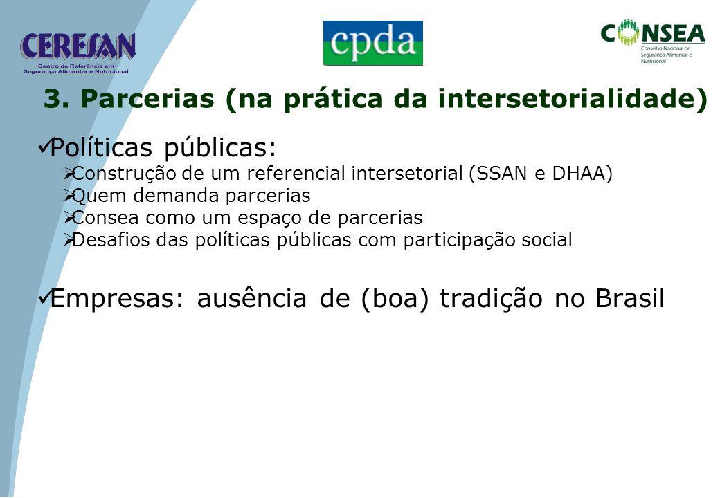 Políticas públicas: Construção de um referencial intersetorial (SSAN e DHAA) Quem demanda parcerias Consea como um espaço de parcerias Desafios das po