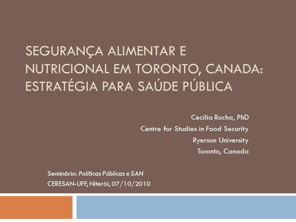 SEGURANÇA ALIMENTAR E NUTRICIONAL EM TORONTO, CANADA: ESTRATÉGIA PARA SAÚDE PÚBLICA Cecilia Rocha, PhD Centre for Studies in Food Security Ryerson Uni