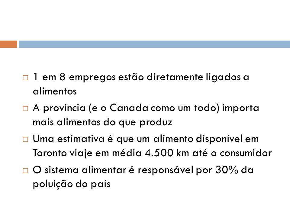 Em 2004, 9.2% dos domicílios canadenses apresentavam algum grau de insegurança alimentar 56% dos novos imigrantes latinos na cidade apresentam algum grau de insegurança alimentar Bancos de alimentos da cidade servem 744.000 visitantes por ano Programas comunitários e de assistência servem 20.000 refeições diárias para pessoas necessitadas