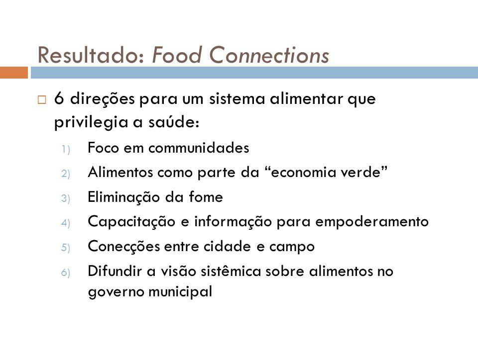 Resultado: Food Connections 6 direções para um sistema alimentar que privilegia a saúde: 1) Foco em communidades 2) Alimentos como parte da economia v