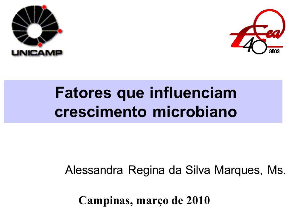 Fatores que influenciam crescimento microbiano Alessandra Regina da Silva Marques, Ms. Campinas, março de 2010