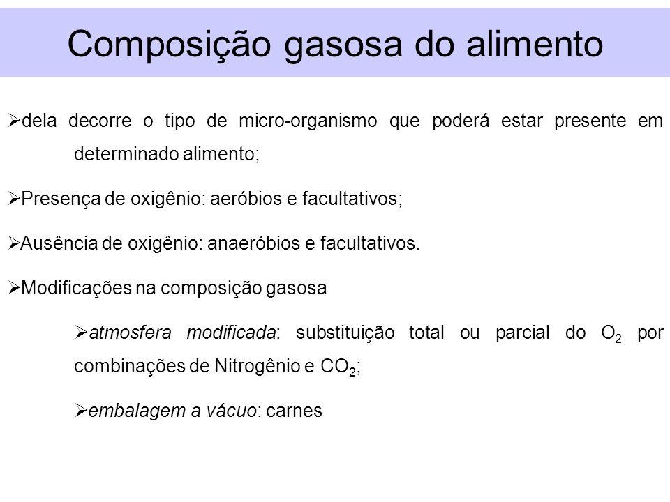 Composição gasosa do alimento dela decorre o tipo de micro-organismo que poderá estar presente em determinado alimento; Presença de oxigênio: aeróbios