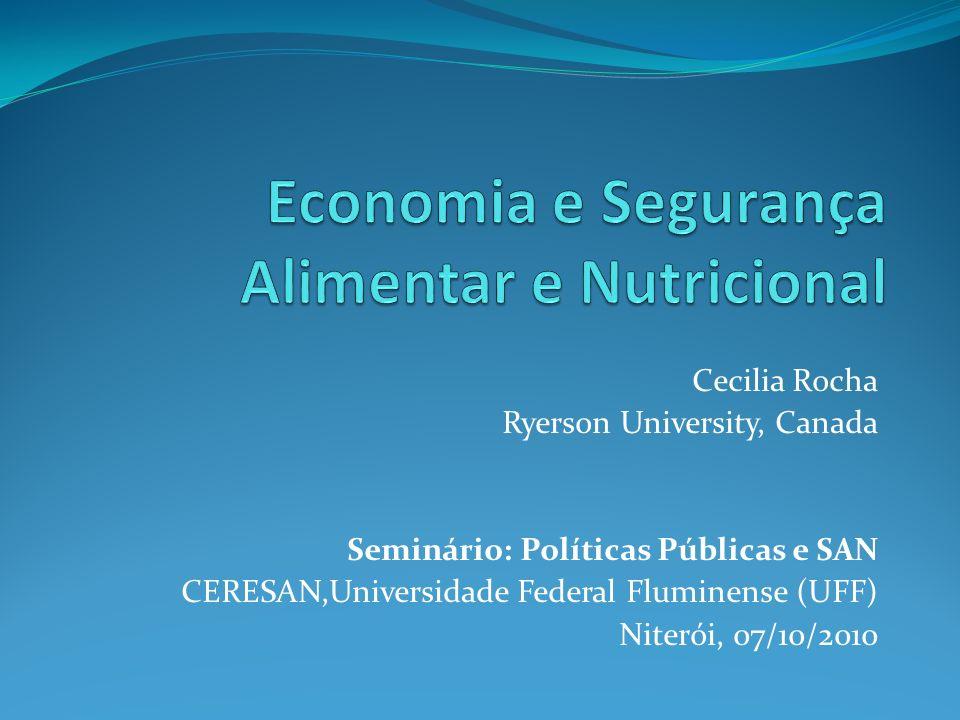 Cecilia Rocha Ryerson University, Canada Seminário: Políticas Públicas e SAN CERESAN,Universidade Federal Fluminense (UFF) Niterói, 07/10/2010