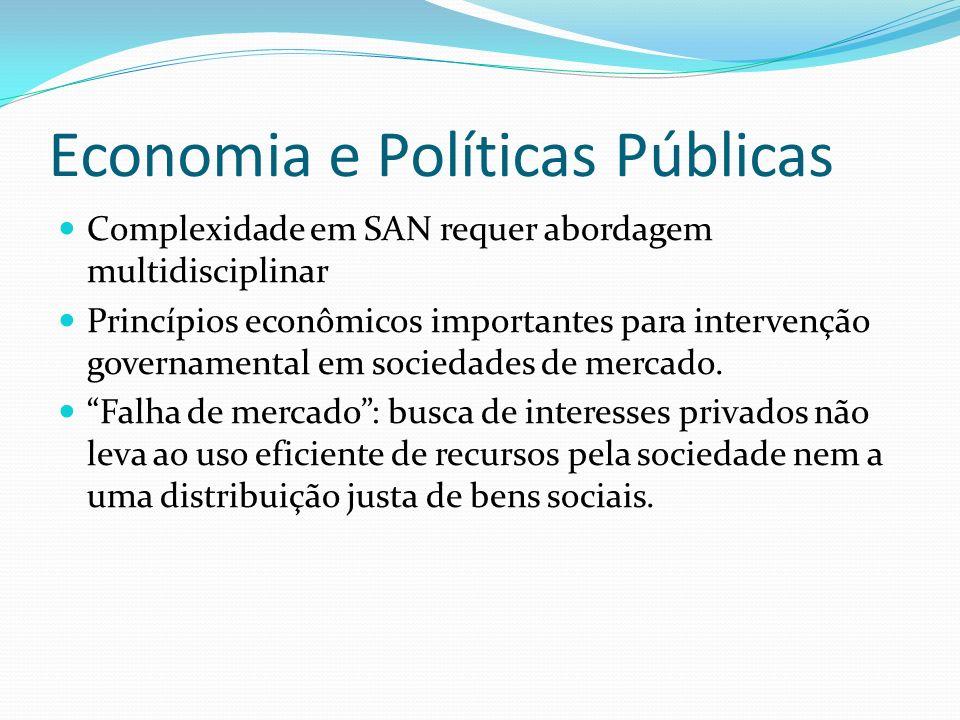 Economia e Políticas Públicas Complexidade em SAN requer abordagem multidisciplinar Princípios econômicos importantes para intervenção governamental em sociedades de mercado.