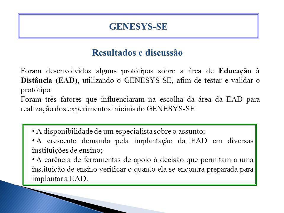 GENESYS-SE Resultados e discussão Foram desenvolvidos alguns protótipos sobre a área de Educação à Distância (EAD), utilizando o GENESYS-SE, afim de t