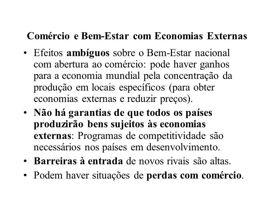 Comércio e Bem-Estar com Economias Externas Efeitos ambíguos sobre o Bem-Estar nacional com abertura ao comércio: pode haver ganhos para a economia mu